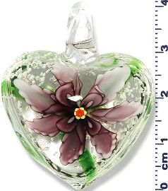 Glass Pendant Murano Heart Flower Clear Green Purple PD565