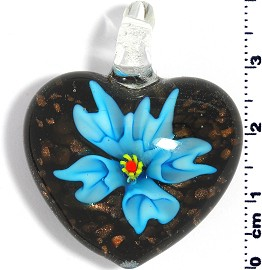 Glass Pendant Flower Heart Black Gold Turquoise PD567