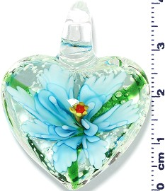 Glass Pendant Murano Heart Flower Clear Green Turquoise PD571