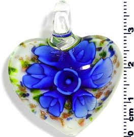 Glass Pendant Flower Heart White Blue PD575