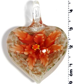 Glass Pendant Flower Heart White Orange PD576