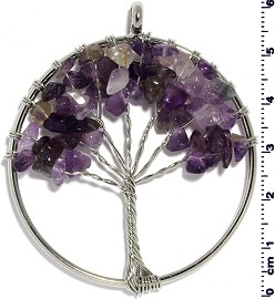 Tree Of Life Stone Metallic Pendant Silver Tone Purple PD578