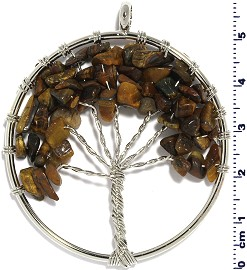 Tree Of Life Stone Metallic Pendant Silver Tone Brown PD580