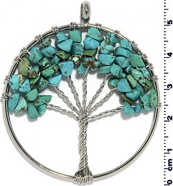 Tree Of Life Stone Metallic Pendant Silver Turquoise Teal PD583