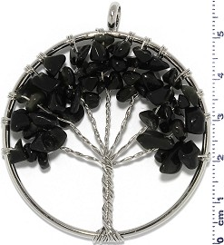 Tree Of Life Stone Metallic Pendant Silver Tone Black PD600