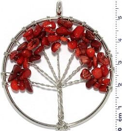 Tree Of Life Stone Metallic Pendant Silver Tone Red PD605