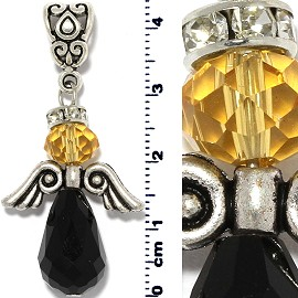 Crystal Tear Bead Rhinestone Pendant Angel Black Yellow PD615