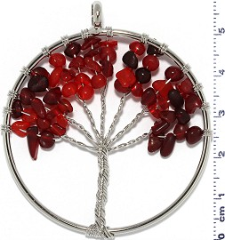 Tree Of Life Stone Metallic Pendant Silver Tone Mix Red PD620