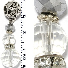 Crystal Ball Bead Rhinestone Pendant Clear Silver PD621