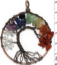 Tree Of Life Stone Metallic Pendant Antique Copper Mix Col PD622