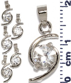 6pc Rhinestone Pendant Silver Clear PD624