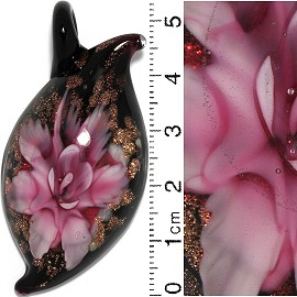 Glass Pendant Flower Leaf Oval Point Black Gold Pink PD635