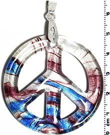 Glass Pendant Peace Sign Blue Purple Clear PD640