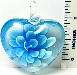 Sky Blue Clear Thick Flower Heart Glass Pendant PD643