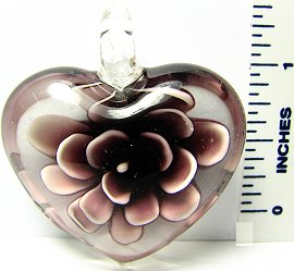 Purple Clear Thick Flower Heart Glass Pendant PD644