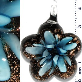 Glass Pendant Flower Round Star Gold Black Turquoise PD662