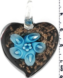 Glass Pendant Flower Heart Gold Black Turquoise PD672
