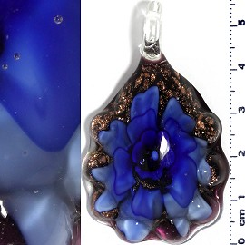 Glass Pendant Flower Oval Gold Black Blue PD685