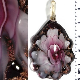 Glass Pendant Flower Oval Gold Black Pink PD686