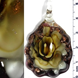 Glass Pendant Flower Oval Gold Black Yellow PD687