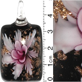 Glass Pendant Flower Rectangle Black Gold Pink PD690