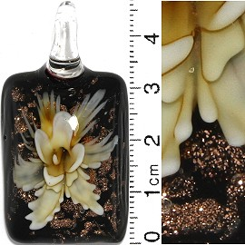 Glass Pendant Flower Rectangle Black Gold Yellow PD691
