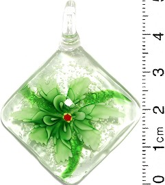Glass Pendant Flower Square Clear Green PD697