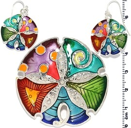 Set Earring Pendant Multi Color Sand Dollar PD703