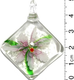 Glass Pendant Flower Square Clear Green Pink PD708