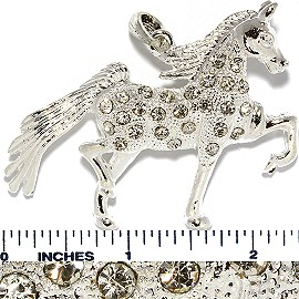 Rhinestone Pendant Horse Silver PD710 - Click Image to Close
