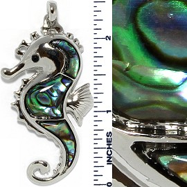 Abalone Pendant Seahorse Green Silver PD713 - Click Image to Close