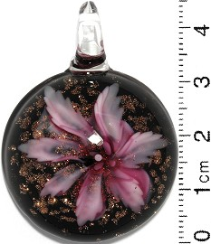 Glass Pendant Flower Round Circle Dome Black Gold Pink PD715