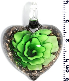 Glass Pendant Heart Flower Gold Black Green PD716