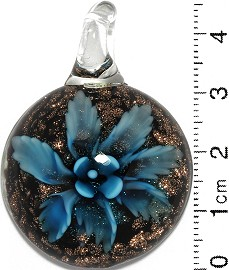 Glass Pendant Flower RoundCircle Dome Black Gold Turquoise PD718