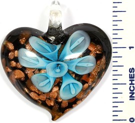 Glass Pendant Flower Heart Gold Black Sky Blue PD722