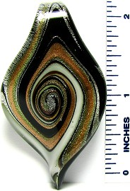 Black Gold White Swirl Leaf Glass Pendant PD723 Twist