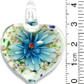 Glass Pendant Flower Heart White Gold Green Turquoise PD728