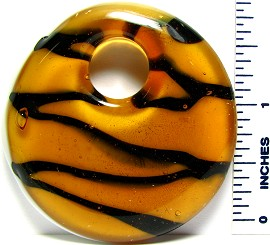 Yellow Black Lines Round Glass Pendant PD729