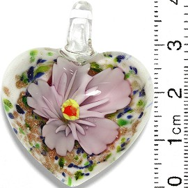Glass Pendant Flower Heart White Gold Green Pink PD735
