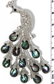 Abalone Pendant Peacock Silver Green PD738