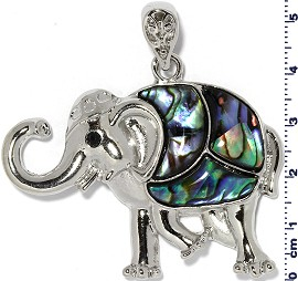 Abalone Pendant Elephant Silver Green PD739