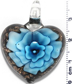 Glass Pendant Flower Heart Black Turquoise PD742