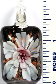 Glass Pendant Flower Rectangle Black White PD749