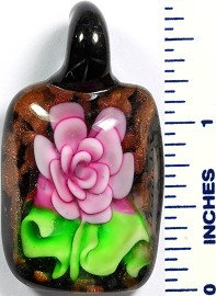 Glass Pendant Flower Rectangle Black Green Pink PD756