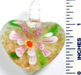 Glass Pendant Flower Heart White Pink PD758