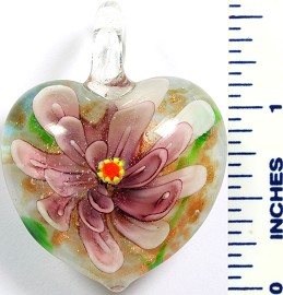 Glass Pendant Flower Heart White Purple PD760