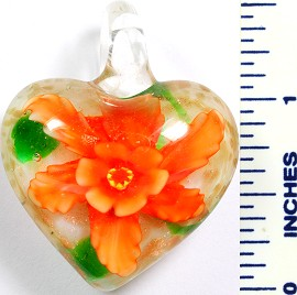 Glass Pendant Flower Heart White Orange PD762