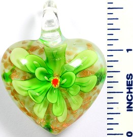 Glass Pendant Flower Heart White Green PD764