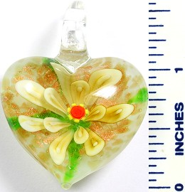 Glass Pendant Flower Heart White Yellow PD765