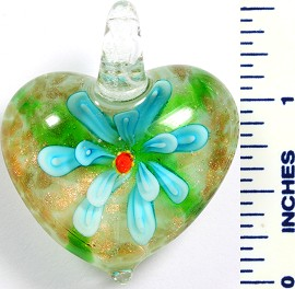Glass Pendant Flower Heart White Sky Blue PD766